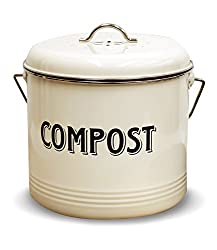 Compost Bin With 7 Free Charcoal Filters By Silky Road 1 3 Gallon 5 Liter Vintage Cream Powder Coated Carbon Steel Kitchen Pail With Lid Trash Keeper Container Bucket Recycling Caddy