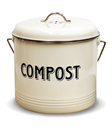 Compost Bin with 7 FREE Charcoal Filters by Silky Road | 1.3-Gallon / 5-Liter | Vintage Cream Powder-Coated Carbon Steel | Kitchen Pail with Lid, Trash Keeper Container Bucket, Recycling Caddy