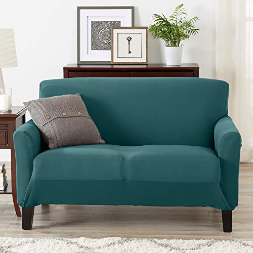 Fit, Slip Resistant, Strapless Slipcover Includes Bonus Lint Roller. Furniture Protector Featuring Super Soft Jersey Knit Fabric. Seneca Collection (Loveseat, Teal) ()