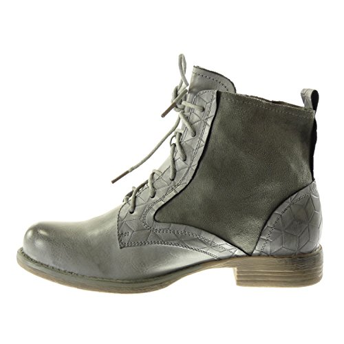 Angkorly Women's Fashion Shoes Ankle Boots - Booty - Combat Boots - Cavalier - Bi Material - Crocodile - Rhinestone - Shiny Block Heel 3 cm Grey jFuMbM