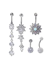 VIccoo 5Pieces Titanium Dangle Belly Button Ring Navel Curved Barbel CZ Stone Piercing Set