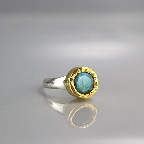 Handmade Modern Labradorite 24K Solid Gold and Sterling Silver Venus Engagement Ring, Mixed Metal Hammered Wedding Ring