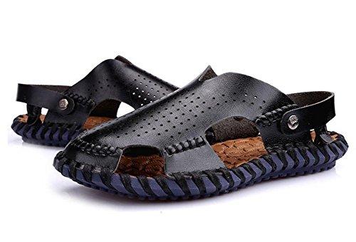 Zapatillas de playa de cuero de los hombres ocasionales pantalones de mano a mano de la playa, zapatillas de costura retro clásicos para los hombres Black