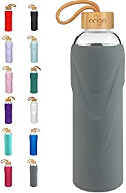 Origin Best BPA-Free Borosilicate Glass Water Bottle with Protective Silicone Sleeve and Bamboo Lid - Dishwash