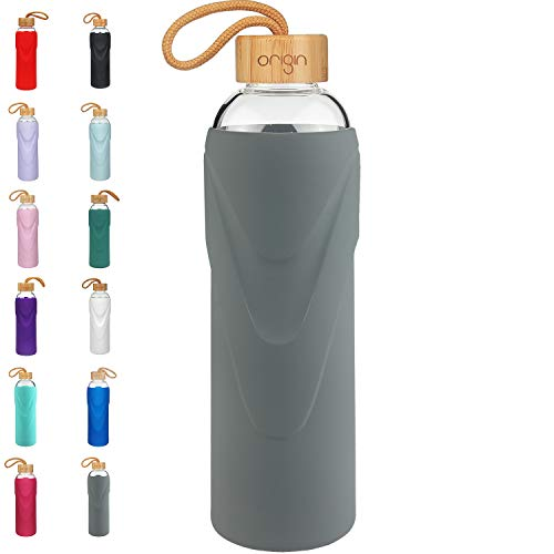 ORIGIN Best BPA-Free Glass Water Bottle with Protective Silicone Sleeve and Bamboo Lid - Dishwasher Safe (Charcoal, 22 oz)