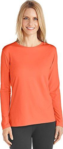 Coolibar UPF 50+ Women's Long Sleeve T-Shirt - Sun Protective (Medium- Sunset Orange)
