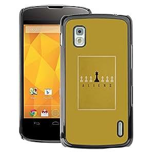 A-type Arte & diseño plástico duro Fundas Cover Cubre Hard Case Cover para LG Nexus 4 E960 (Board Game Minimalist Gold King)