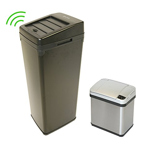iTouchless 14 Gallon and 2.5 Gallon Sensor Trash Cans with AbsorbX Odor Control System, Black and Stainless Steel, Kitchen and Bathroom Automatic Garbage Bins