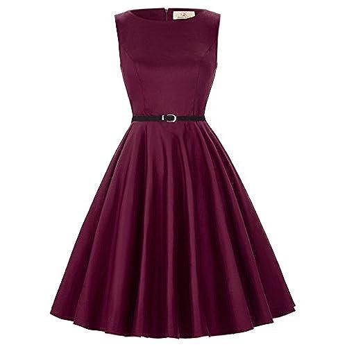 Womens Wine High Waist 50s Vintage Sleeveless Wedding Dresses (X-L, Floral 49#)