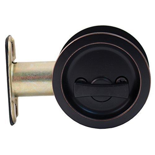 Stone Harbor Hardware, Round Pocket Door Lock Privacy Function, 2.75 inch Backset, Vintage Bronze, HL81309 by Stone Harbor Hardware