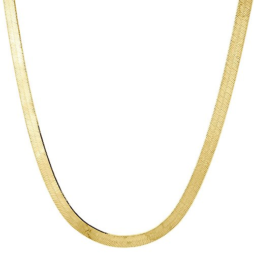 10K Yellow Gold 3.75mm Silky Herringbone Chain Necklace Lobster Clasp, 18 Inches