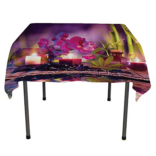 (Spa Decor Collection, Wipeable Table CoverViolet Composition Candles Oil Orchids and Bamboo on Water Natural Leaves Picture Print, for Outdoor and Indoor Use, 54x54 Inch Green Lilac)