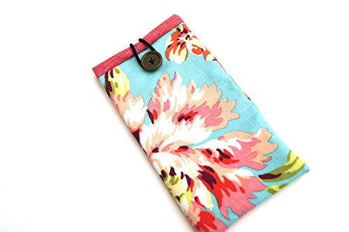 Blue and Pink Floral Fabric Eyeglasses Case, Sunglasses Pouch or Phone Cozy