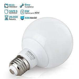 G25 Globe LED Light Bulb, 5W (40W Equiv.), 360°Uniform Light ENERGY STAR, Damp Location Available, 3000K Warm White Vanity Bulb for Pendant, Bathroom, Dressing Room Decorative Lighting, Pack of 6