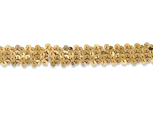 1 Row 7/8 Inch Stretch Sequin Trim, Las Vegas 1 Style, Midas Gold, 6 YD (Costumes Vegas)