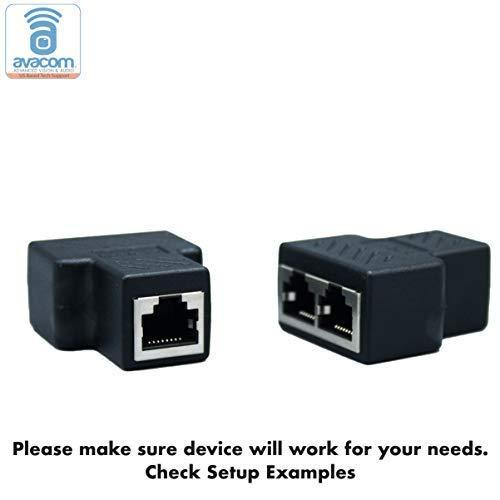 AVACOM RJ45 Multiplex/Splitter Adapter, Female Socket Interface, Ethernet Cable 8P8C Coupler, Keystone Jack, Extender Plug, Ethernet LAN Network Connector (1 Pair, 1 PCS Multiplexer + 1 PCS Splitter) by Avacom
