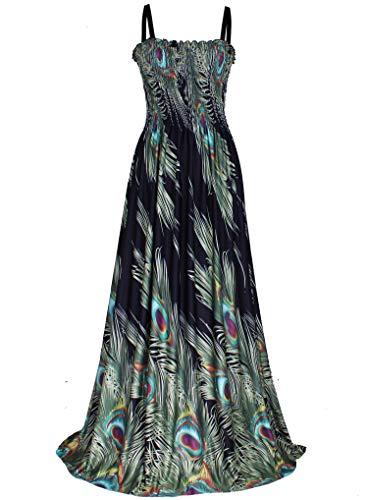Women Plus Size Maxi Dress Casual Long Summer Hawaiian Black Peacock Sundress (5X(Length 58 inches), Black/Peacock)