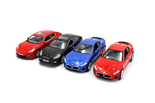 Just For Laughs Luxury Car 4 Pack, Official Diecast Porsche Panamera(Red+Black) Maserati Gran Turismo(Red+Blue)