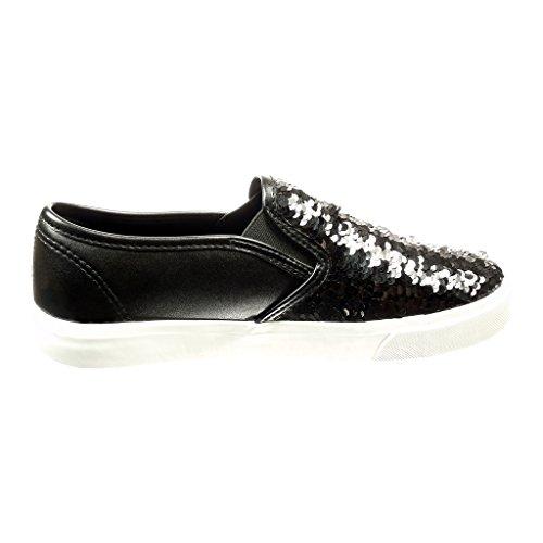 on da 2 Slip Heel Angkorly Shoes Flat donna 5 Cm on di Fashion Shiny Bright Black Slip q5TxTd