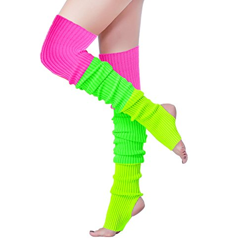 V28 Women Over Knee Cable Knit Ribbed Crochet Long Boot Leg Warmers (H81-mix3) -