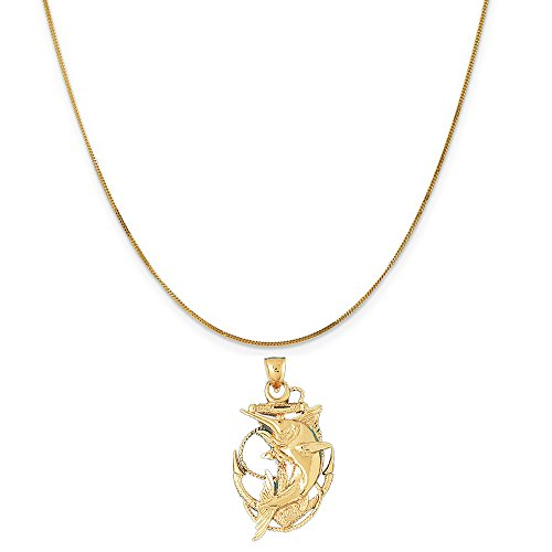 14k Yellow Gold Anchor with Marlin Pendant on a 14K Yellow Gold Curb Chain Necklace, 16'' by Eaton Creek Collection