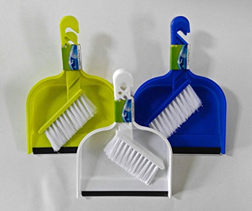 (Set of 3 Dust Pans with Rubber Lip and Brush (Mini) Set Assorted Colors)
