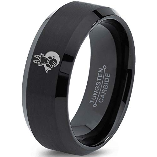 Zealot Jewelry Tungsten Heart Cancer Survivor Love Band Ring 8mm Men Women Comfort Fit Black Beveled Edge Brushed Polished Size 10.5