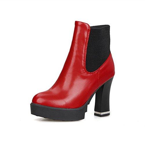 AllhqFashion Mujeres Caña Baja Sin cordones Tacón Alto Puntera Redonda Botas Rojo