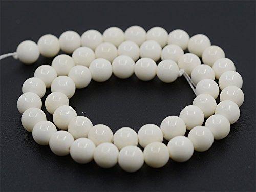(Justinstones 8mm Natural Genuine Ox Bone Round Beads Strand 16