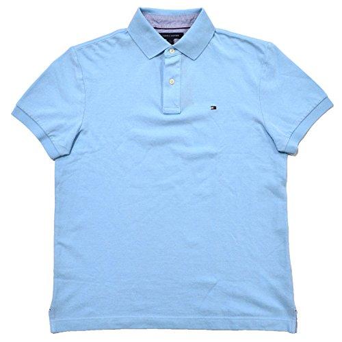 (Tommy Hilfiger Mens Custom Fit Mesh Polo Shirt (XL, Cloud Blue))