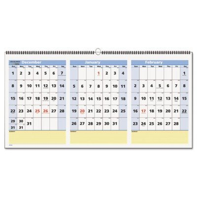 At-A-Glance PM1528 QuickNotes Three-Month Wall Calendar Horizontal Format 23 1/2 x 12 2017-2019