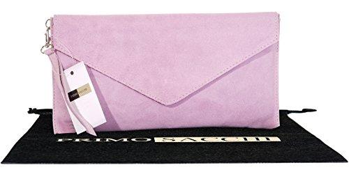 Suede Leather Wrist Made Baby Pink Clutch Envelope Bag Branded Italian Storage Protective Design Hand Shoulder Crossbody or Bag d5qxa0