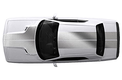 Factory Crafts Dodge Challenger 2008-2013 T-Hood ROOF Trunk Stripes Graphics Kit 3M Vinyl Decal Wrap - Silver