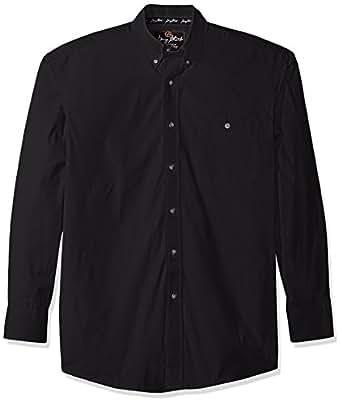 Wrangler Men's George Strait One Pocket Long Sleeve Woven Shirt, Black, M