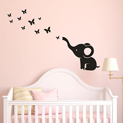 Transer DIY Elephant Butterfly Removable Wall Decal Sticker Bedroom Decoration (Black) ()