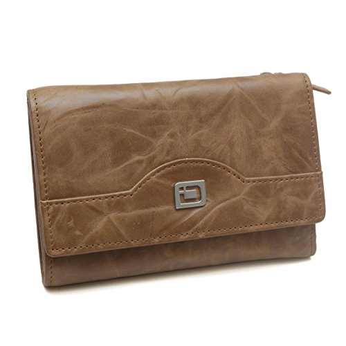 Ladies Compact RFID Designer Leather Trifold - RFID Wallets for Women - Top Quality Leather (Natural Brown)