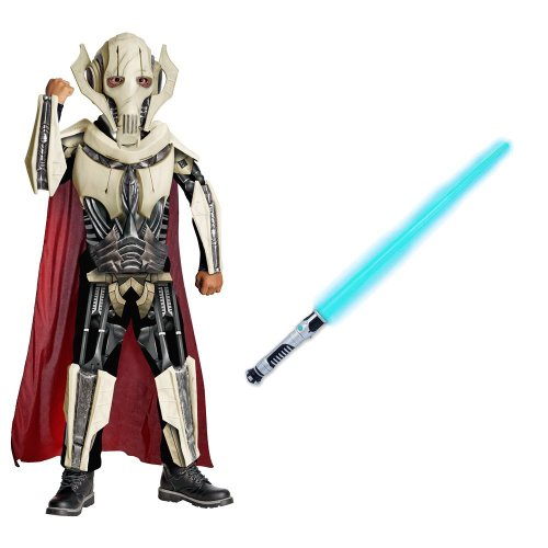 [Star Wars/General Grievous Deluxe Child Costume With Blue Lightsaber, (M)] (Star Wars General Grievous Child Costumes)