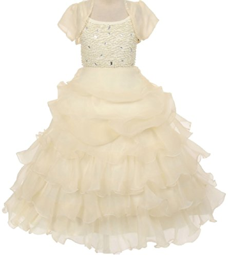 Little Girls Organza Pick Up Skirt Pageant Flowers Girls Dresses Ivory 4