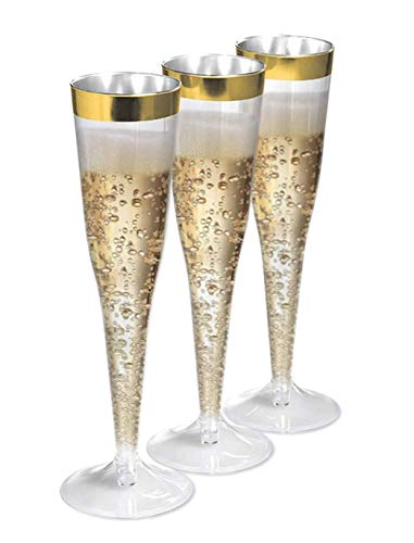 6.5 oz Disposable Gold Rim Champagne Flute-60 piece pack | Plastic Champagne Flutes for Toasting at Wedding, New Years and Fancy Birthday Parties | Reusable Clear Tumbler (60 Champagne)