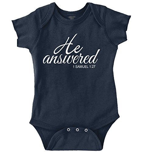 He Answered New Parents Christian Baby Gifts Cute Onesie Bodysuit