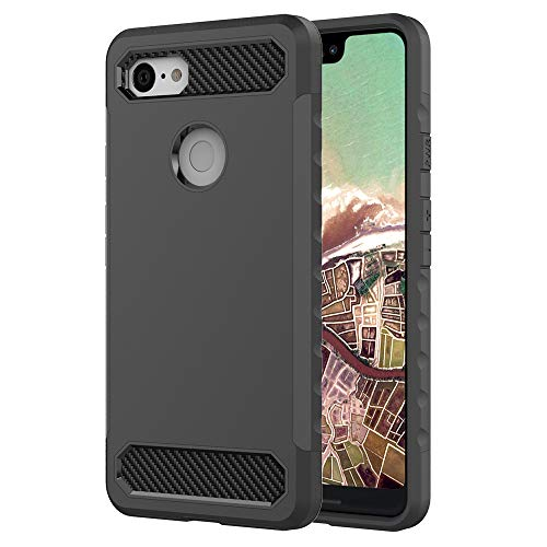 Price comparison product image Google Pixel 3 XL Case,  Futanwei [Hard Plastic+Silicone Rubber] Dual-Layer Protective Case Heavy Duty Shockproof Support Wireless Charging Non-Slip Cover for Google Pixel 3 XL [Not for Pixel 3] Black