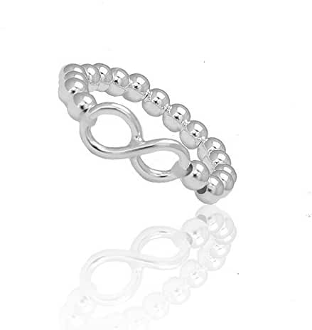 925 Sterling Silver Infinity Ball Bead Stretch Adjustable Ring