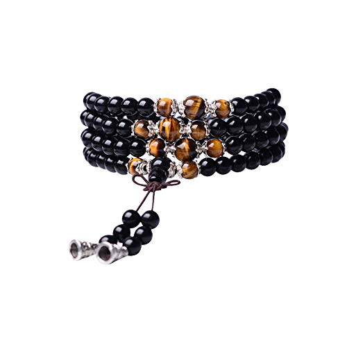 (Tiger Eye Crystal Gemstone Bracelet Tibetan Buddhist Buddha Meditation 108 Obsidian Prayer Bead)