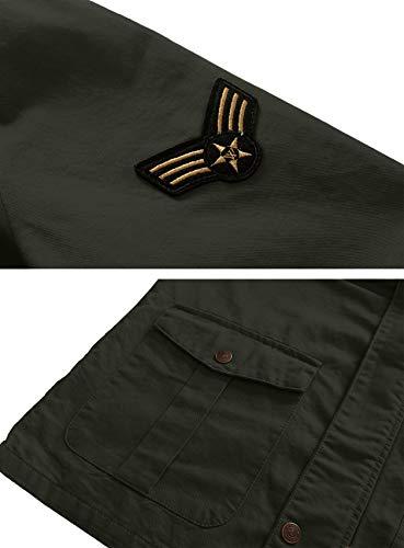 Di Cotone Militare Uomo Con Nuovo Cappuccio Wenven Verde Giacca wSgxqpSR
