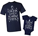 I Drink and I Know Things Men's T-Shirt & Infant Bodysuit Matching Set [Men: XL, Navy/Baby: 6M, Navy]