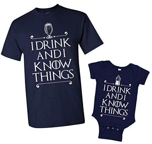 I Drink and I Know Things Men's T-Shirt & Infant Bodysuit Matching Set [Men: 2X, Navy/Baby: 6M, Navy]