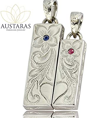 Austaras Ruby or Sapphire Necklace Half Heart Engraved Pendant