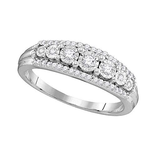 - Diamond Fashion Ring Three Row Band Round Invisible Set Womens Fancy .25ct 10k White Gold