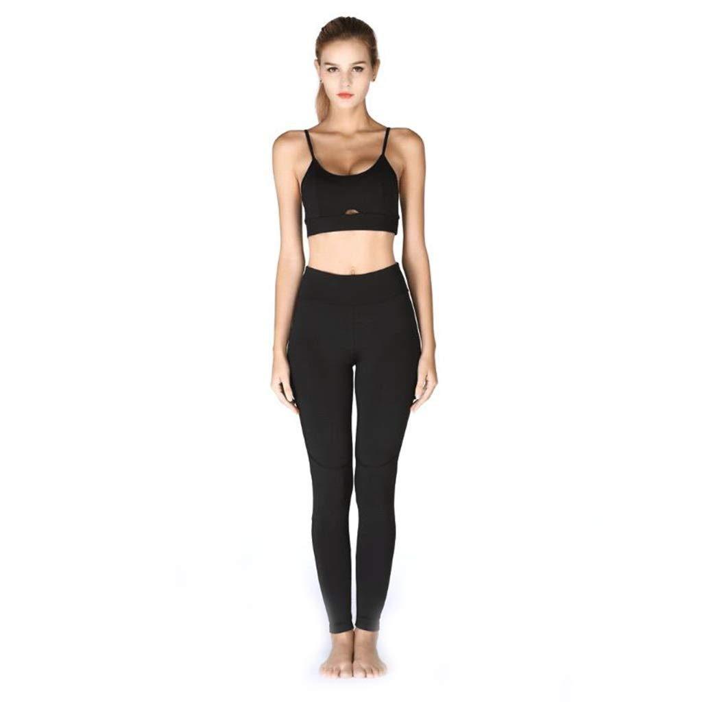 - ADPTT Yoga Costume en Tissu Entraînement Vêtements De Sport Occasionnel Pantalon Exercice T-49 (noir)