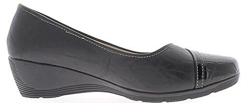 ChaussMoi Zapatos de Mujer Negro Talones Offset 4 cm Cómoda